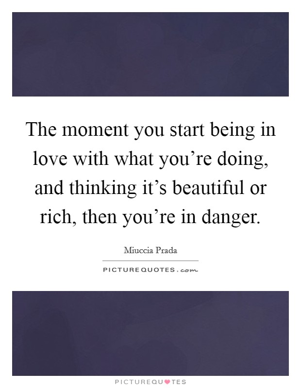 The moment you start being in love with what you're doing, and thinking it's beautiful or rich, then you're in danger Picture Quote #1