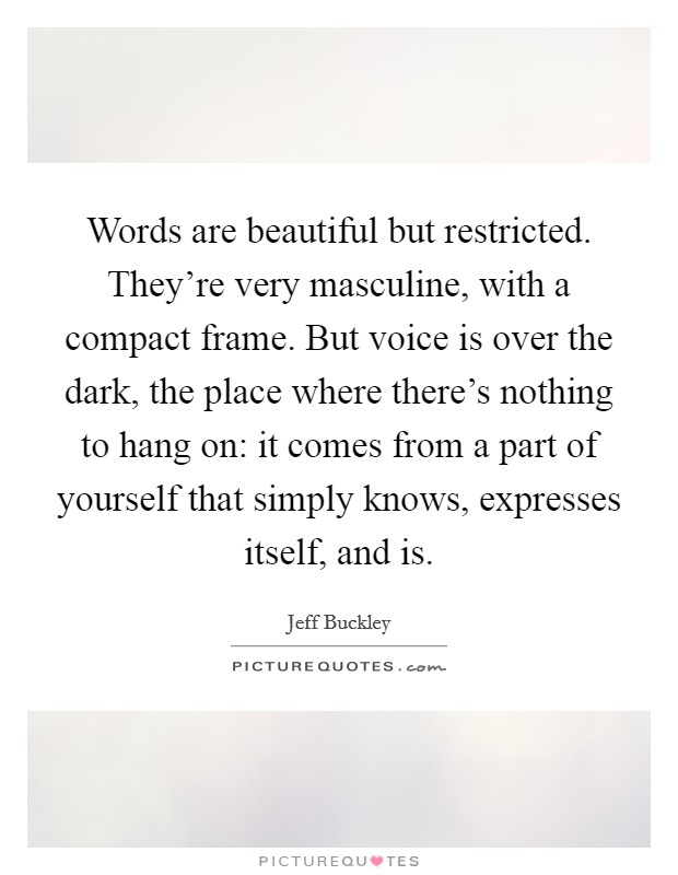Words are beautiful but restricted. They're very masculine, with a compact frame. But voice is over the dark, the place where there's nothing to hang on: it comes from a part of yourself that simply knows, expresses itself, and is Picture Quote #1