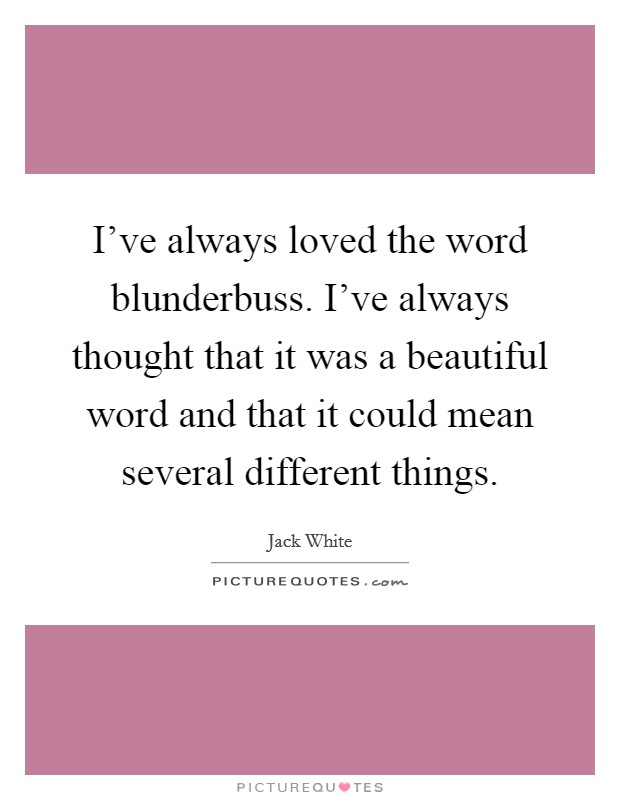 I've always loved the word blunderbuss. I've always thought that it was a beautiful word and that it could mean several different things Picture Quote #1