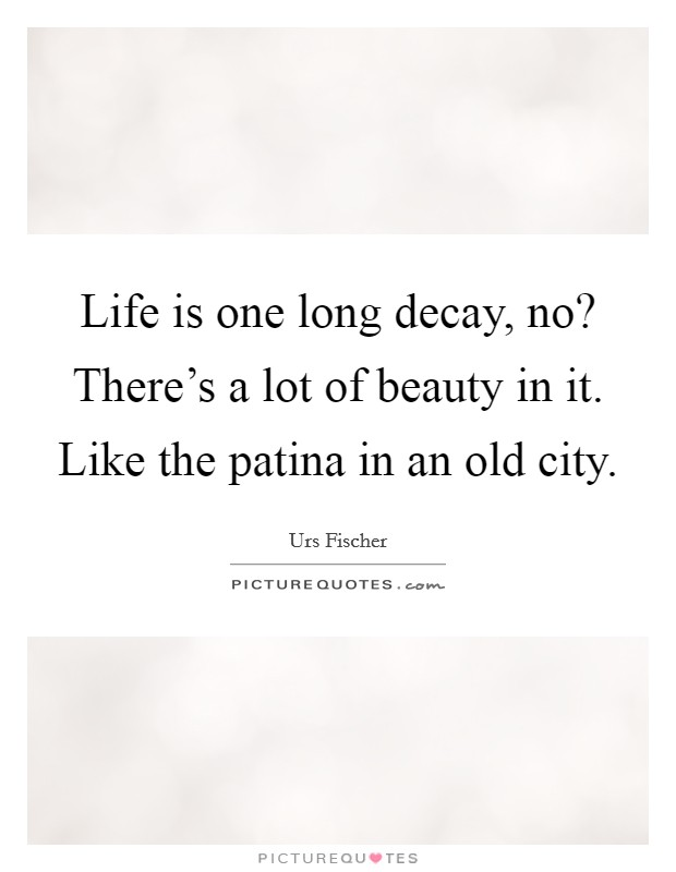Life is one long decay, no? There's a lot of beauty in it. Like the patina in an old city Picture Quote #1
