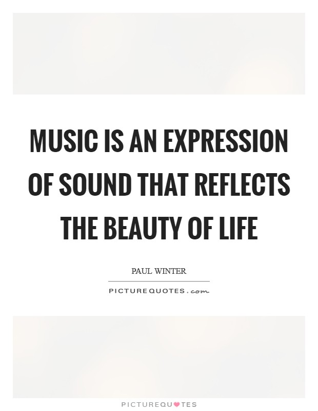 Music is an expression of sound that reflects the beauty of life Picture Quote #1