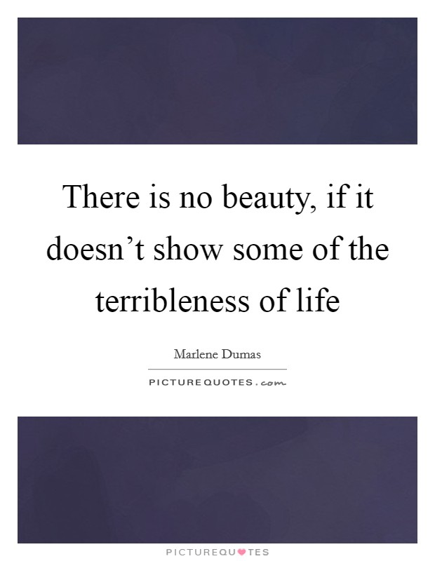 There is no beauty, if it doesn't show some of the terribleness of life Picture Quote #1
