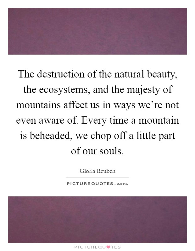 The destruction of the natural beauty, the ecosystems, and the majesty of mountains affect us in ways we're not even aware of. Every time a mountain is beheaded, we chop off a little part of our souls Picture Quote #1