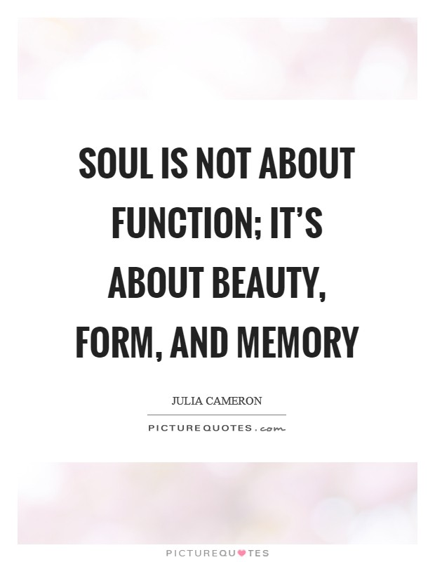 Soul is not about function; it's about beauty, form, and memory Picture Quote #1