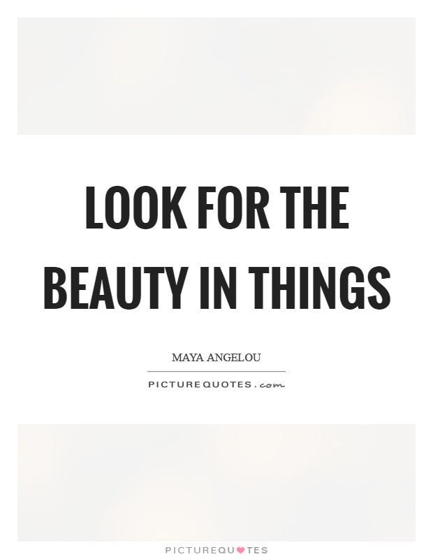 Look for the beauty in things Picture Quote #1