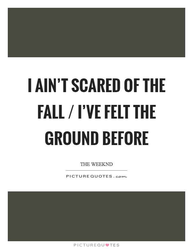 I ain't scared of the fall / I've felt the ground before Picture Quote #1