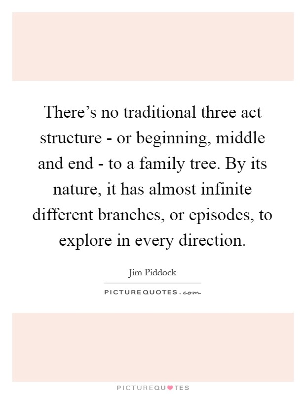 There's no traditional three act structure - or beginning, middle and end - to a family tree. By its nature, it has almost infinite different branches, or episodes, to explore in every direction Picture Quote #1