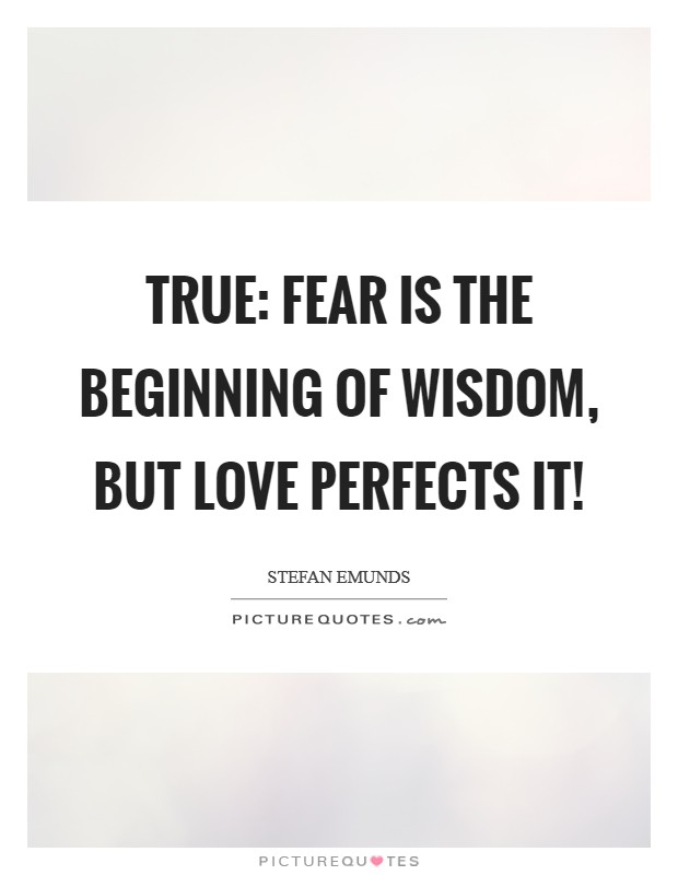 True: fear is the beginning of wisdom, but love perfects it! Picture Quote #1