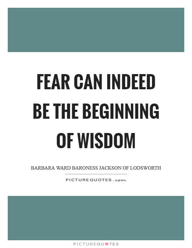 Fear can indeed be the beginning of wisdom Picture Quote #1