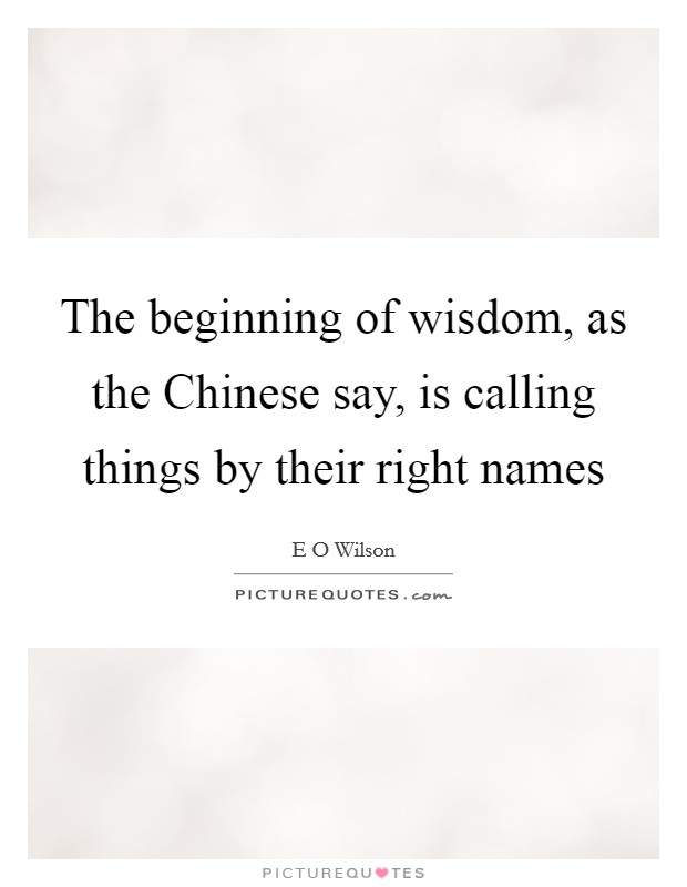 The beginning of wisdom, as the Chinese say, is calling things by their right names Picture Quote #1