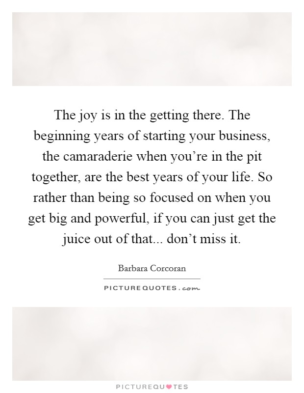 The joy is in the getting there. The beginning years of starting your business, the camaraderie when you're in the pit together, are the best years of your life. So rather than being so focused on when you get big and powerful, if you can just get the juice out of that... don't miss it Picture Quote #1