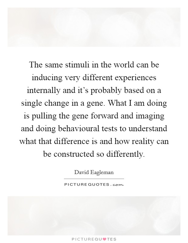 The same stimuli in the world can be inducing very different experiences internally and it's probably based on a single change in a gene. What I am doing is pulling the gene forward and imaging and doing behavioural tests to understand what that difference is and how reality can be constructed so differently Picture Quote #1