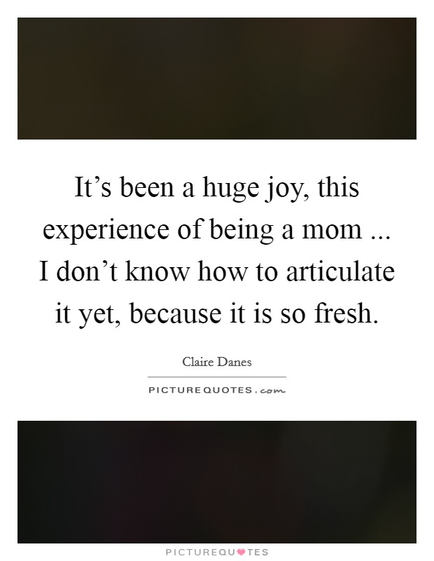 It's been a huge joy, this experience of being a mom ... I don't know how to articulate it yet, because it is so fresh Picture Quote #1