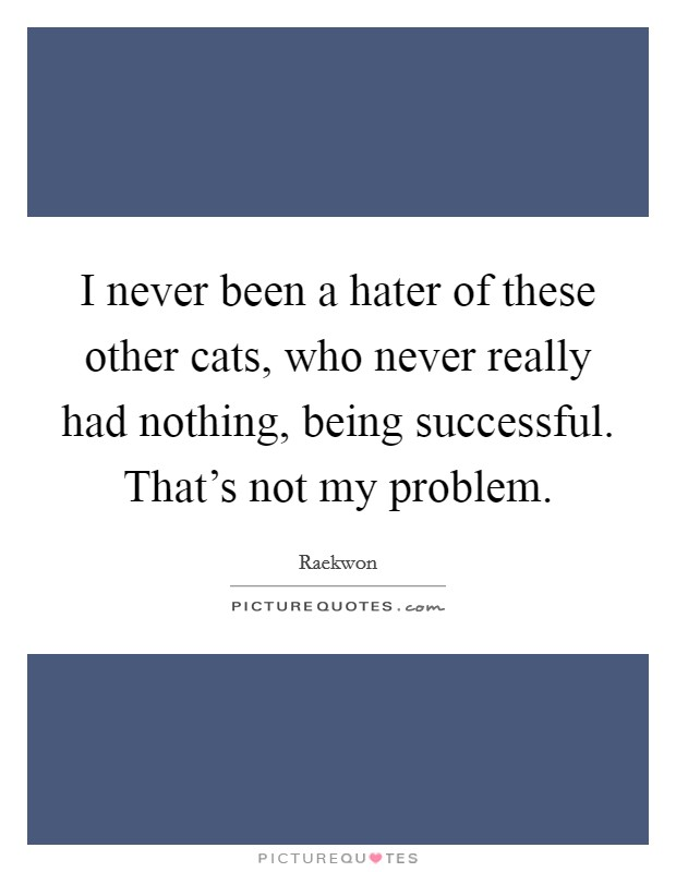 I never been a hater of these other cats, who never really had nothing, being successful. That's not my problem Picture Quote #1