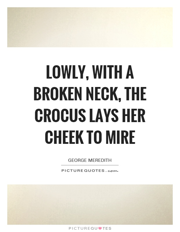 Lowly, with a broken neck, The crocus lays her cheek to mire Picture Quote #1