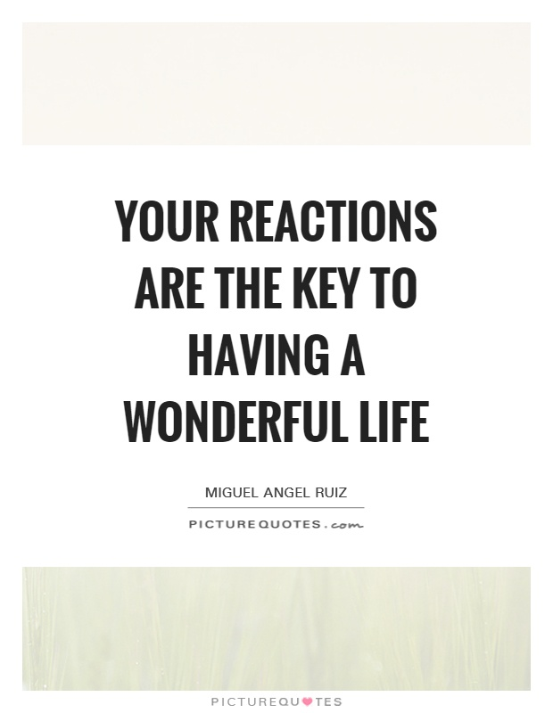 Wonderful Life Quotes Gorgeous Your Reactions Are The Key To Having A Wonderful Life  Picture Quotes