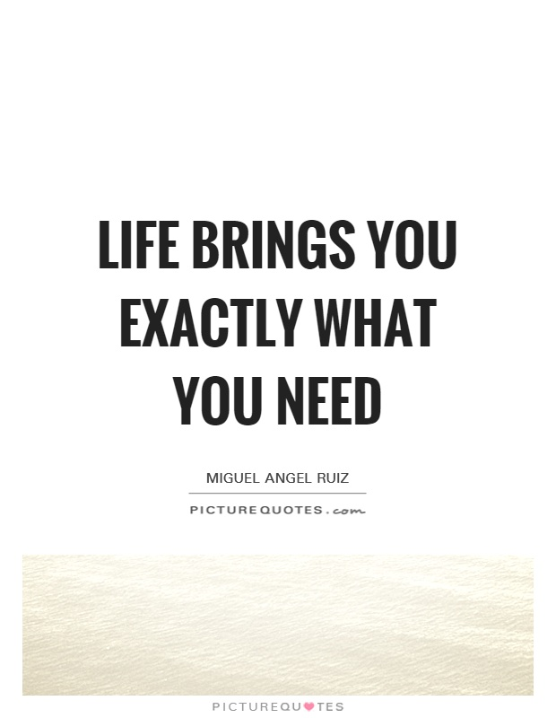 Life brings you exactly what you need Picture Quote #1