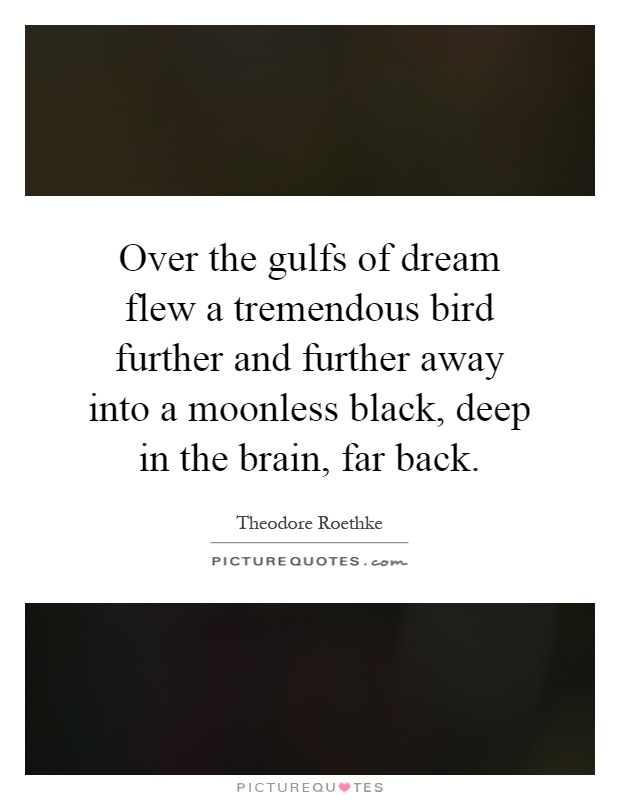 Over the gulfs of dream flew a tremendous bird further and further away into a moonless black, deep in the brain, far back Picture Quote #1