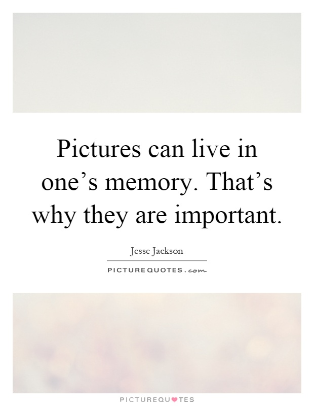 Pictures can live in one's memory. That's why they are important Picture Quote #1
