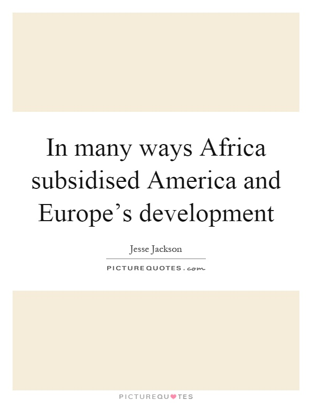 In many ways Africa subsidised America and Europe's development Picture Quote #1