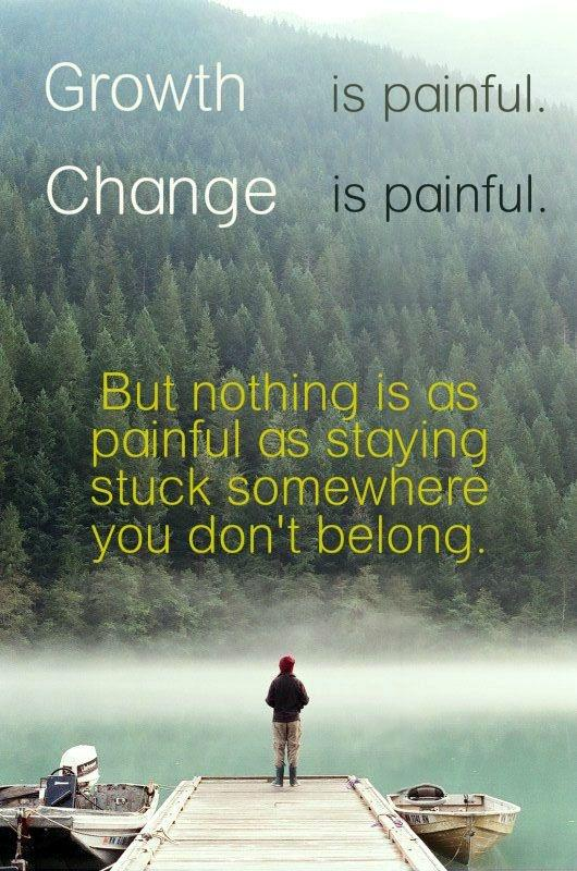 Growth is painful. Change is painful. But nothing is as painful as staying stuck somewhere you don't belong Picture Quote #1