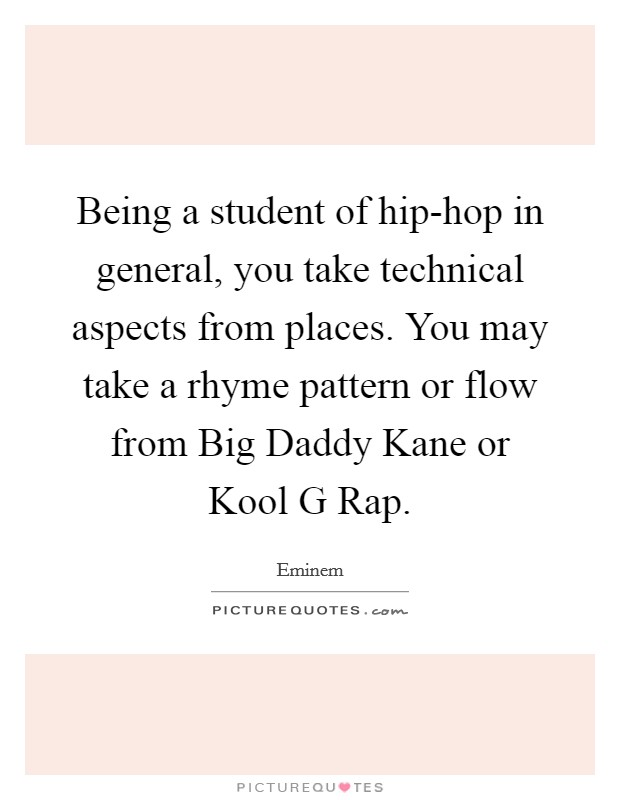Being a student of hip-hop in general, you take technical aspects from places. You may take a rhyme pattern or flow from Big Daddy Kane or Kool G Rap Picture Quote #1