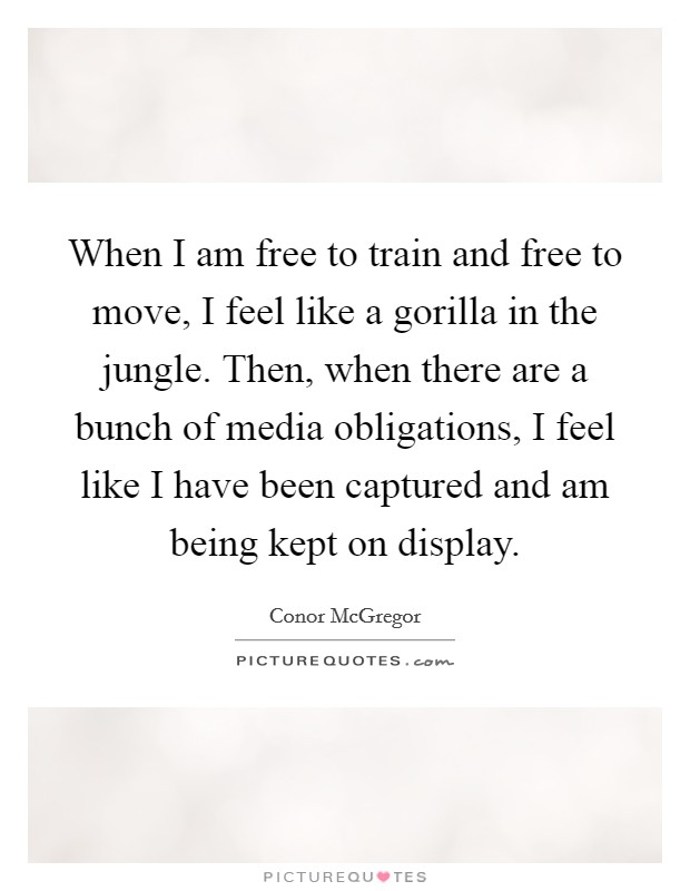 When I am free to train and free to move, I feel like a gorilla in the jungle. Then, when there are a bunch of media obligations, I feel like I have been captured and am being kept on display Picture Quote #1