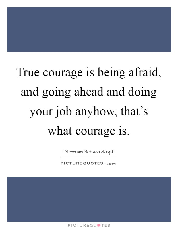 True courage is being afraid, and going ahead and doing your job anyhow, that's what courage is Picture Quote #1