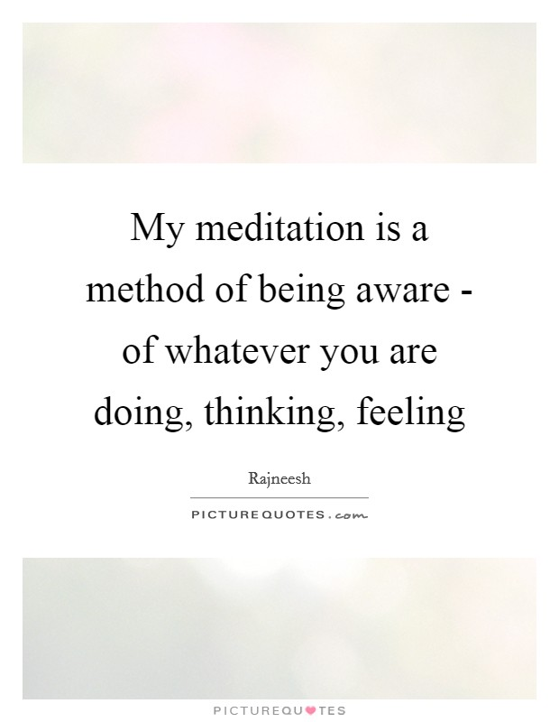 My meditation is a method of being aware - of whatever you are doing, thinking, feeling Picture Quote #1