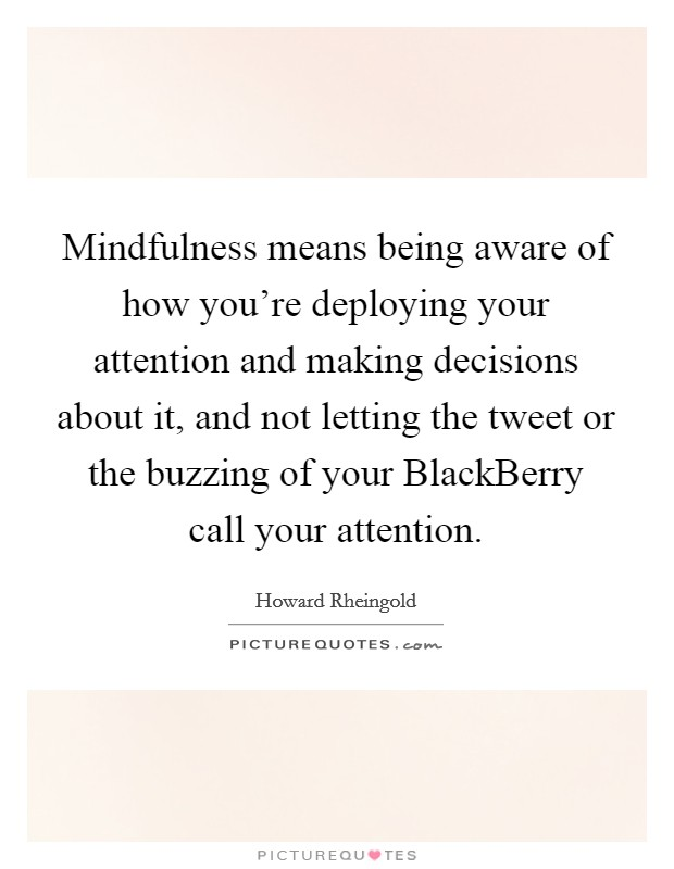 Mindfulness means being aware of how you're deploying your attention and making decisions about it, and not letting the tweet or the buzzing of your BlackBerry call your attention Picture Quote #1