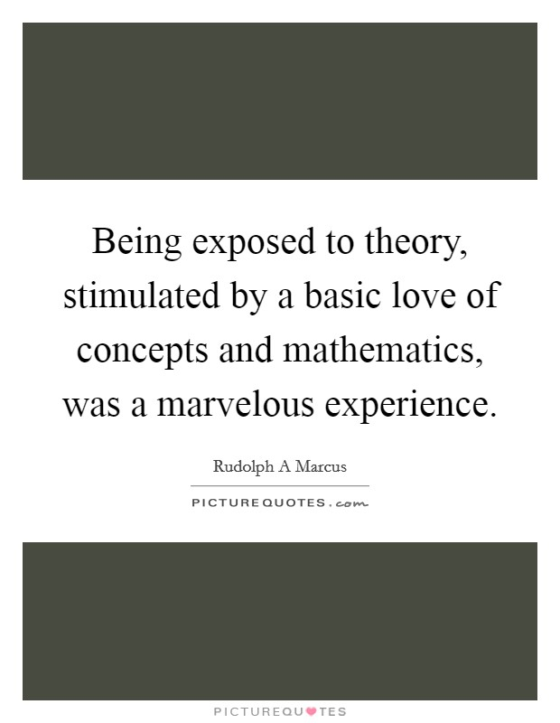 Being exposed to theory, stimulated by a basic love of concepts and mathematics, was a marvelous experience Picture Quote #1