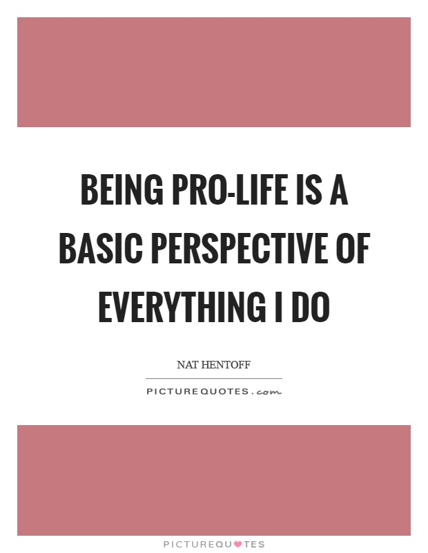 Being pro-life is a basic perspective of everything I do Picture Quote #1