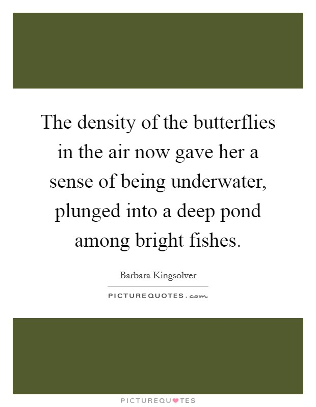 The density of the butterflies in the air now gave her a sense of being underwater, plunged into a deep pond among bright fishes Picture Quote #1