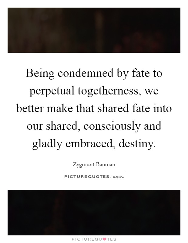 Being condemned by fate to perpetual togetherness, we better make that shared fate into our shared, consciously and gladly embraced, destiny Picture Quote #1