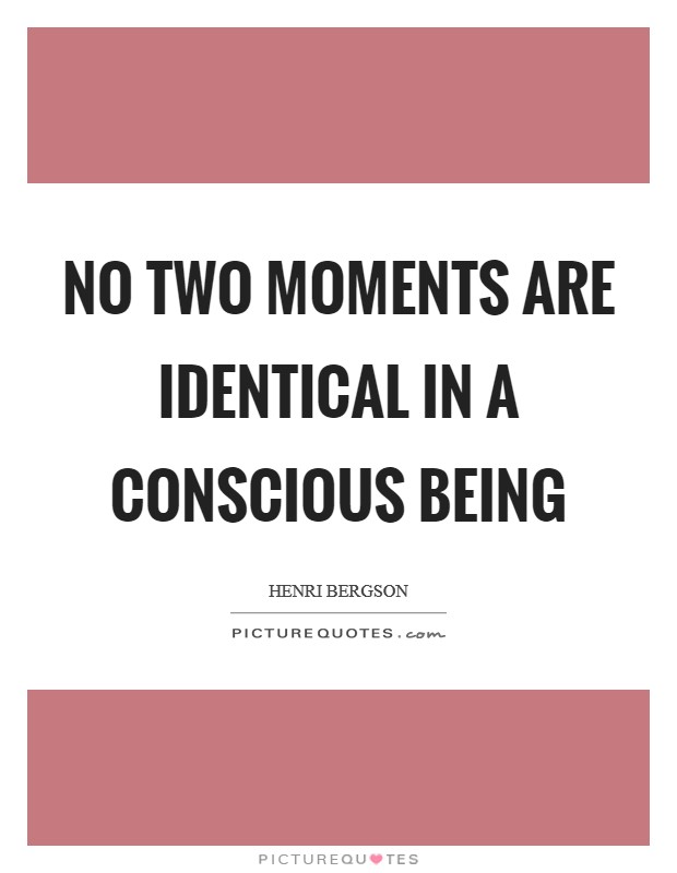 No two moments are identical in a conscious being Picture Quote #1