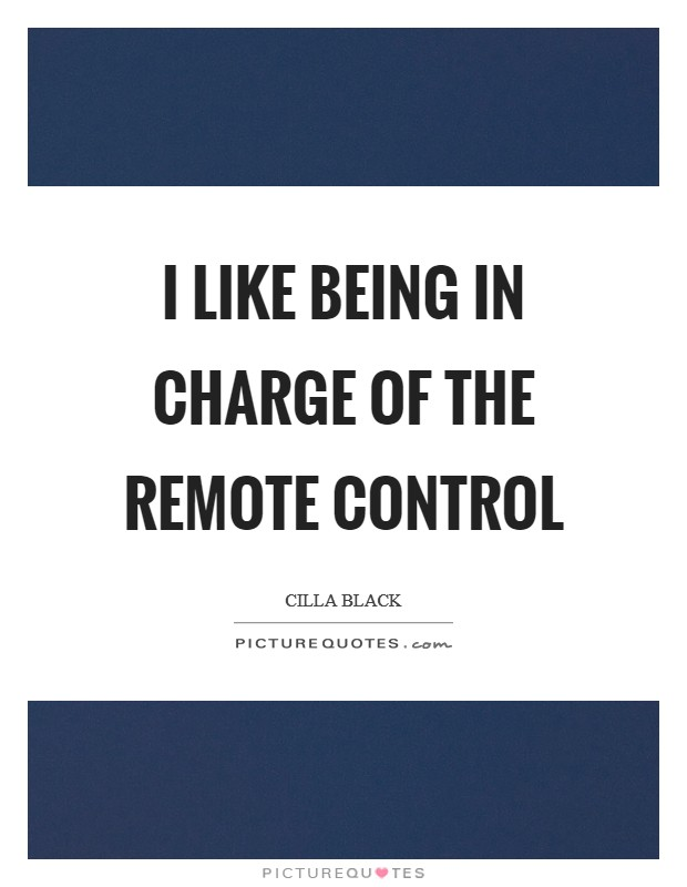 I like being in charge of the remote control Picture Quote #1