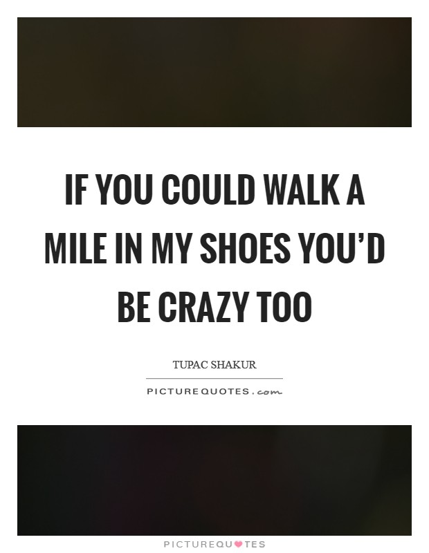 If you could walk a mile in my shoes you'd be crazy too Picture Quote #1