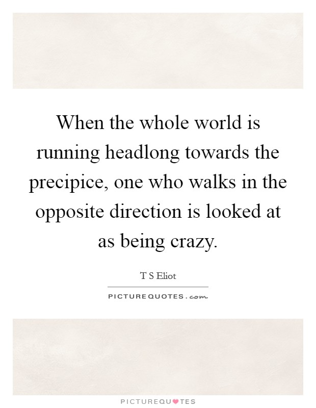 When the whole world is running headlong towards the precipice, one who walks in the opposite direction is looked at as being crazy Picture Quote #1