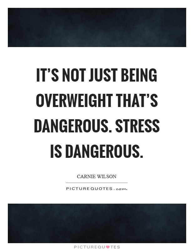 It's not just being overweight that's dangerous. Stress is dangerous Picture Quote #1