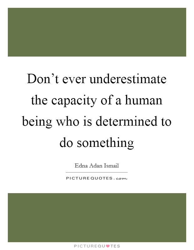 Don't ever underestimate the capacity of a human being who is determined to do something Picture Quote #1
