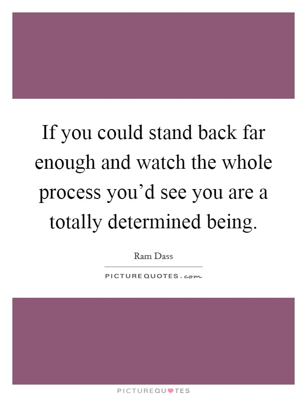 If you could stand back far enough and watch the whole process you'd see you are a totally determined being Picture Quote #1