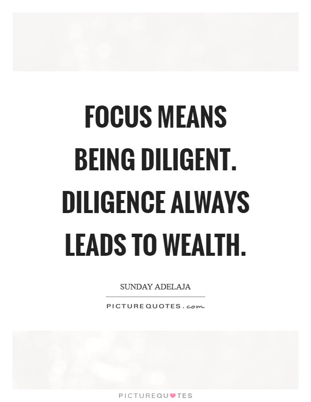 Focus means being diligent. Diligence always leads to wealth. Picture Quote #1