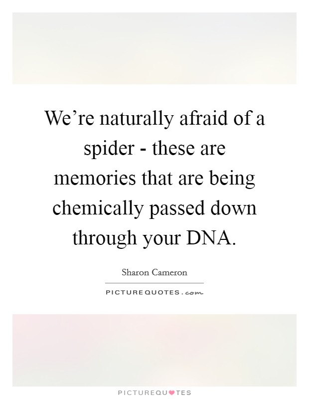 We're naturally afraid of a spider - these are memories that are being chemically passed down through your DNA Picture Quote #1