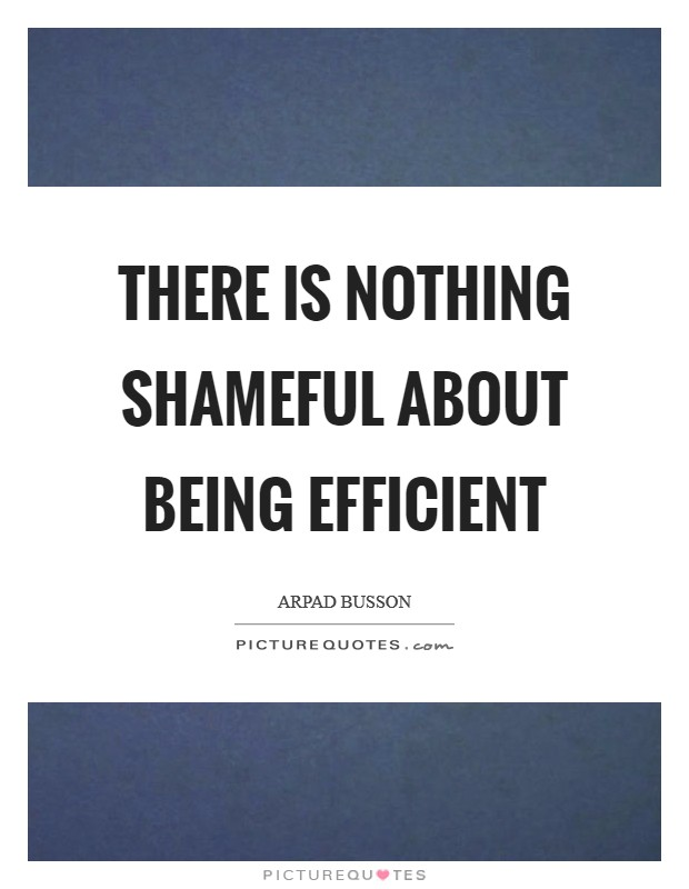 There is nothing shameful about being efficient Picture Quote #1