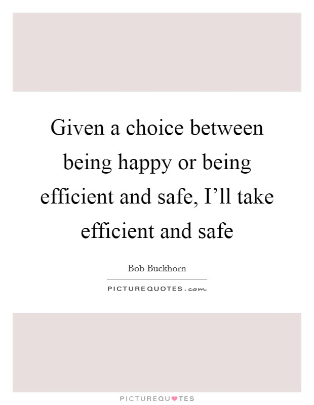Given a choice between being happy or being efficient and safe, I'll take efficient and safe Picture Quote #1