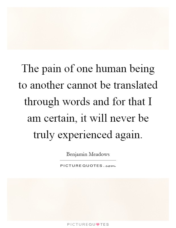 The pain of one human being to another cannot be translated through words and for that I am certain, it will never be truly experienced again Picture Quote #1