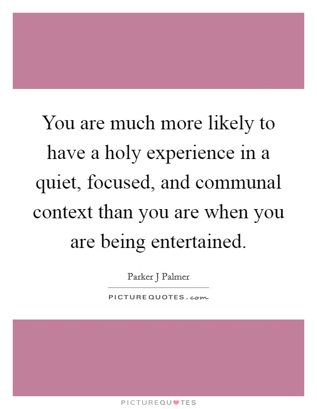 You are much more likely to have a holy experience in a quiet, focused, and communal context than you are when you are being entertained. Picture Quote #1