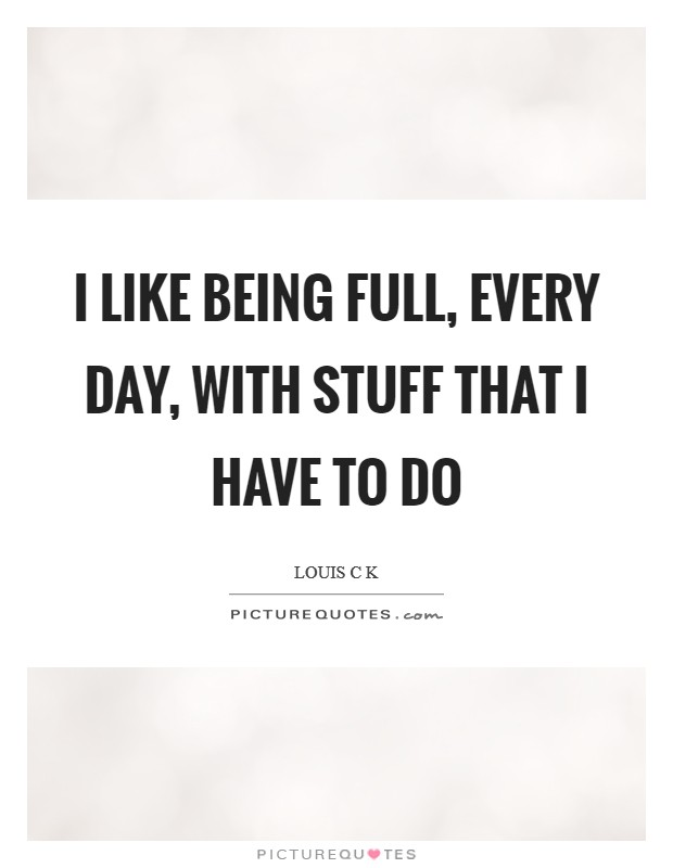 I like being full, every day, with stuff that I have to do Picture Quote #1