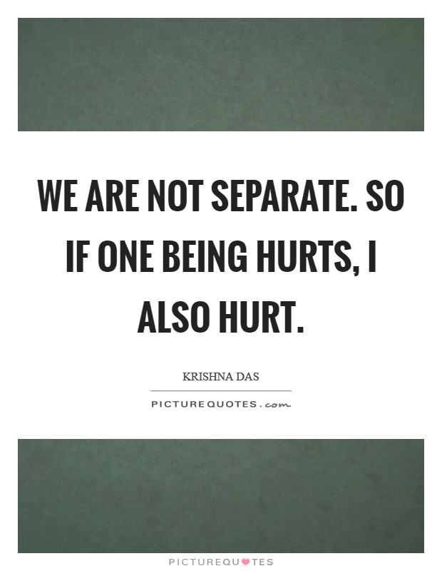 We are not separate. So if one being hurts, I also hurt Picture Quote #1