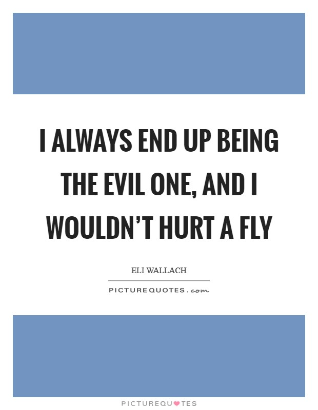 I always end up being the evil one, and I wouldn't hurt a fly Picture Quote #1
